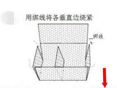 将固滨笼网箱沿折痕方向立架绑扎,绑扎间距20-30cm